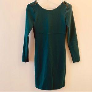 Elegant forest green midi dress w scooped back